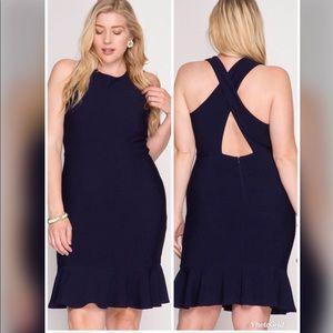 Dresses & Skirts - PLUS Navy Mermaid Midi Dress